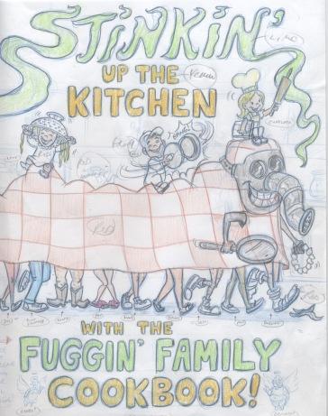 Rough artwork for family cookbook.